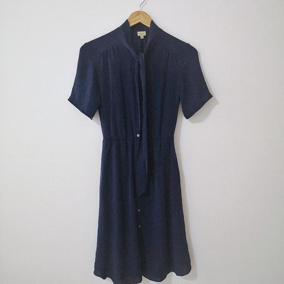 XS Talula Babaton Navy 100% Silk Dress Aritzia